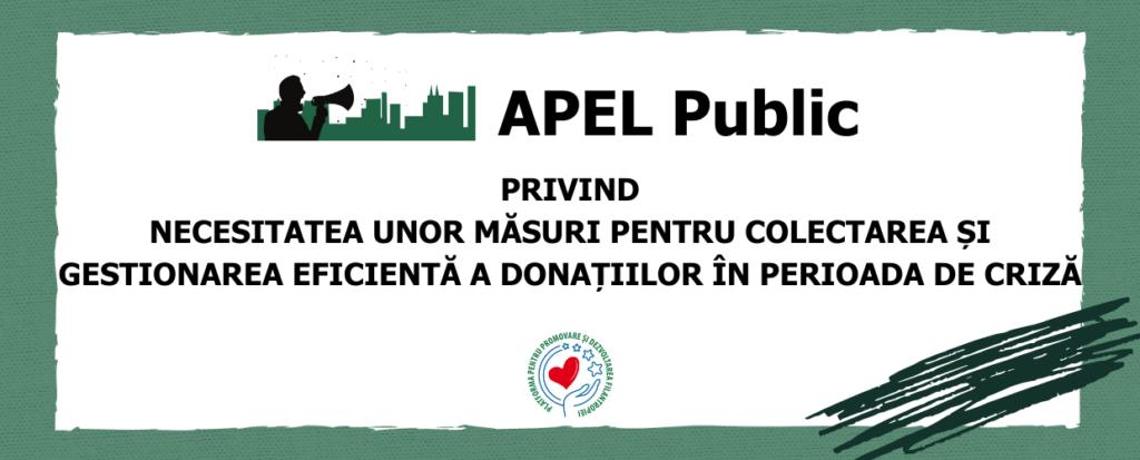 Apel public privind necesitatea unor măsuri pentru colectarea și gestionarea eficientă a donațiilor în perioada de criză